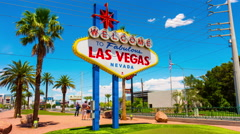 Las vegas city summer day famous welcome sign 4k time lapse nevada usa Stock Footage