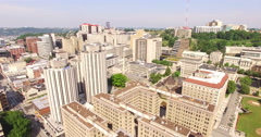 4K Aerial of the buildings next to the Cathedral of Learning, fying backwards Stock Footage