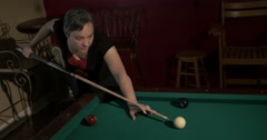 Lady Shooting Pool Medium Stock Footage