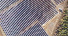 Aerial of solar panel installation Stock Footage