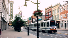 Buffalo New York Downtown Light Rail Main Street Stock Footage