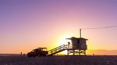 venice beach life guard tower los angeles city panorama 4k time lapse usa - stock footage