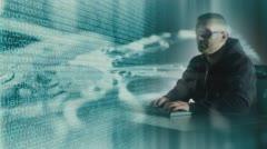 Hacker attack, digital thief concept Stock Footage