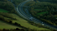 Aerial view of M25 motorway system outside London UK Stock Footage