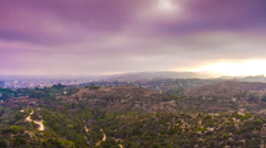 Cloudy day los angeles observatory view point panorama 4k time lapse usa Stock Footage