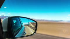 Day road trip car side mirror view panorama 4k time lapse california usa Stock Footage