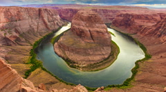 Sunset arizona grand canyon horse shoe bend panorama 4k time lapse usa Stock Footage