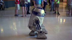 Star Wars R2-D2 with people posing at Air Force Museum 4k Stock Footage