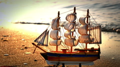 Old ship by the beach 4k Stock Footage