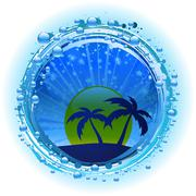 Water bubble border with evening sky and palm trees - stock illustration