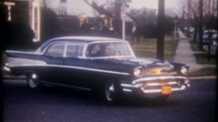 3433 grandparents leave home in their 1957 Chevrolet-vintage film home movie Stock Footage