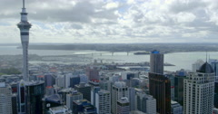 Aerial view of Auckland city skyline, New Zealand Stock Footage