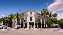summer beverly hills rodeo drive traffic crossroad panorama 4k time lapse usa - stock footage