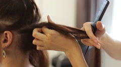 Woman at the hair salon Stock Footage