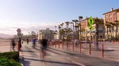 Sunset santa monica beach road panorama 4k time lapse los angeles usa Stock Footage