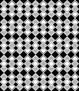Geometric pattern with grey and white rhombus on black background - stock illustration