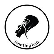 Painting hair icon - stock illustration
