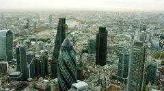 Aerial view of Walkie Talkie building and Gherkin in London UK - stock footage