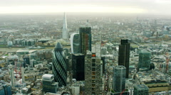 Aerial view of The Gherkin building London Cityscape UK Stock Footage