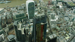 Aerial view of Walkie Talkie building in City London England Stock Footage
