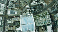Aerial view overhead of the Walkie Talkie building London UK Stock Footage