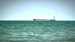 Tanker ship on route to open sea 4k Arkistovideo