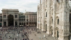 People walking, taking a stroll in Piazza Duomo square in Milan, Italy. Stock Footage