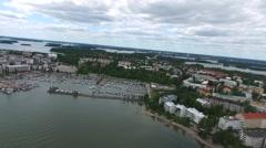 Aerial view of lauttasaari, in Helsinki, Finland Stock Footage