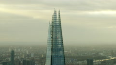 Aerial close up view of The Shard building in City of London UK Stock Footage