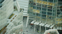 Aerial view of transport network and city buildings London UK Stock Footage