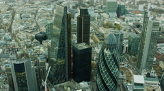 Aerial view of Gherkin skyscraper building London England Stock Footage