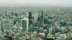 Aerial view of skyscraper buildings in Metropolitan city of London Stock Footage
