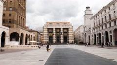 Piazza della Vittoria square in Brescia, Italy timelapse Stock Footage