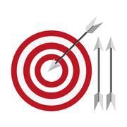 bullseye with arrows icon - stock illustration