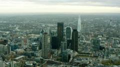 Aerial view of modern skyscraper buildings in London England Stock Footage