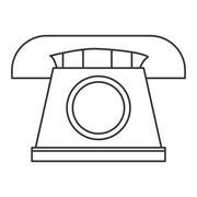 classic rotary telephone icon - stock illustration