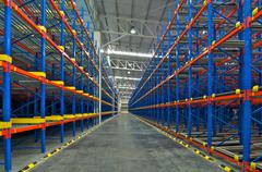 Storage shelf in warehouse distribution center Stock Photos