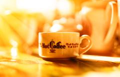 Morning coffee with light leak bokeh background Stock Photos