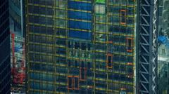 Aerial view of outside of modern skyscraper buildings London UK - stock footage