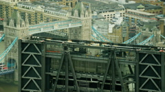 Aerial close up view of Tower Bridge in City of London UK Stock Footage