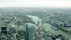 Aerial view of Tower Bridge and Walkie Talkie building London UK - stock footage