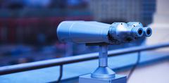 Diagonal bluish street binoculars bokeh background Stock Photos