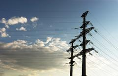 Horizontal city power lines background Stock Photos