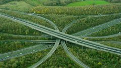 Aerial view of busy transport roads outside London England Stock Footage