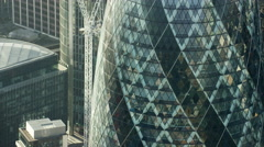 Aerial view of Gherkin building and skyscrapers City of London UK Stock Footage