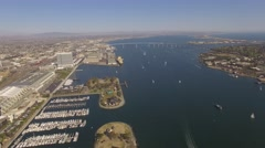 Aerial Coronado Bridge, San Diego Bay California Stock Footage