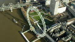 Aerial view of London Eye in Capital city of England Stock Footage
