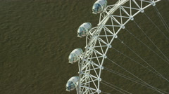 Aerial close up view of passenger pods on London Eye Stock Footage