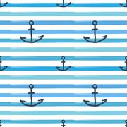 Sea Anchor Hand Drawn Frock And Waves Background Seamless Pattern Stock Illustration