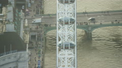 Aerial view of London Eye in city of London UK Stock Footage
